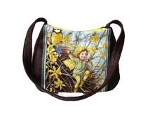 Fairy Shoulder Bag, Yellow Brown Bag, Fairy lover gift, Flower purse, Small Crossbody Bag, Winter Jasmine fairy, caroljoyfashions77