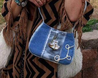 Denim bag/ unique purses / nautical purse /Summer purse /Small/ boat /beach / blue/ washable purse / bags and purses/ RTS / Item #CJF77-1020