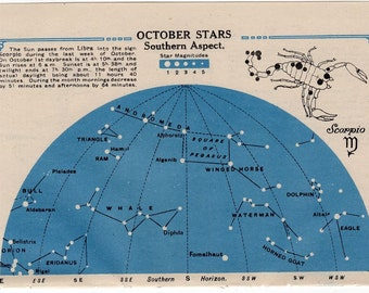 1920 SCORPIO star chart original vintage celestial astronomy lithograph - OCTOBER stars southern aspect & NOVEMBER stars northern aspect