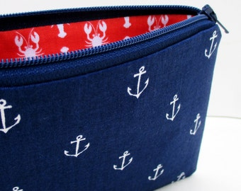 Anchors Away in Nautical Navy Blue, Small Zippered Pouch, Coin Purse, Coral Lobsters