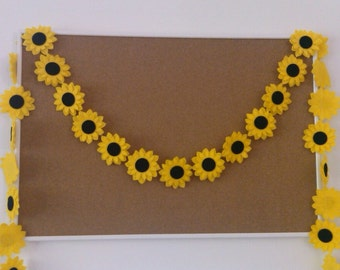 Sunflower Felt Garland, Summer Banner, Flower Garland