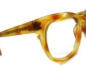 Rare Vintage BlondeDemiAmber G-Man Horned Rim Eyeglasses Frames