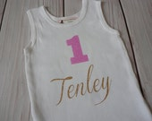 Name and Number Birthday Shirt, Baby Girls Birthday Tops, Personalized Name Shirt, Bodysuits, Personalized Shirts