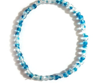 "Blue & Clear Beaded Stretch Bracelet - 7.5"" - Handmade"