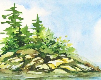 Pacific Northwest Original Landscape Painting - Watercolor