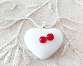 Heart Pendant Necklace White with Red Drops in Silver Setting