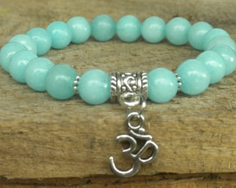 Amazonite Om Bracelet; Healing, Meditation, Energy,Yoga, Mala, Protection