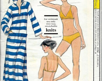 UNCUT 1970's Vogue No. 9787 : Beach Bikini Swimsuit and Hooded Maxi Cover-up  Bust 32 1/2""