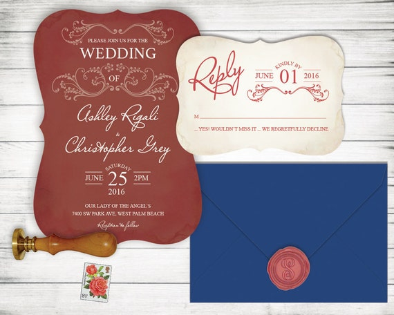 What Should Be Included In Wedding Invitation: Maroon Wedding Invitation Set RSVP Card Included