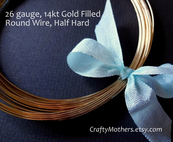 9 feet, 26 gauge Gold Filled Wire - Round, HALF HARD, 14K/20, wire wrapping, earrings, necklace, precious metals - Reg. 16.07