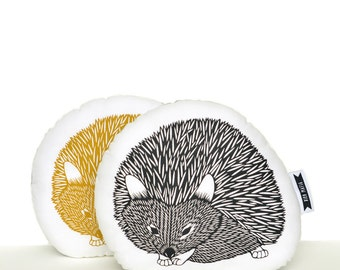 hedgehog pillow, hedgehog plush, black and white, animal pillow, animal cushion, hedgehog cushion, woodland nursery, woodland animals