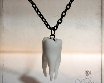 tooth - necklace - wearable art, handsculpted,  tooth fairy, creepy, halloween, horror, III