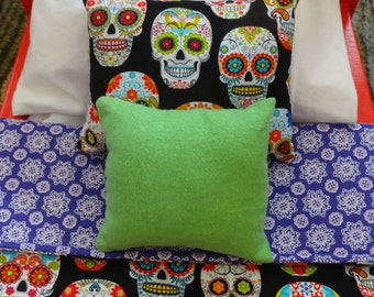 Doll Bedding Set 3 Pc,Comforter Set, Doll Linens Fashion Doll for Girls, 18 in Doll Accessories,Sugar Skulls,Day of the Dead,Toys & Games