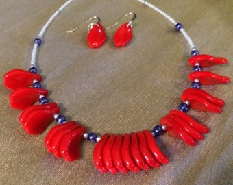 4th of July, Red White and Blue Vintage Glass Drop Bead Necklace & Earring Set