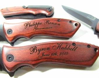 Three Knives - Tactical Engraved EDC Pocket Knife Personalized Groomsmen Knife Groomsman Knife Best Man Ring Bearer Usher Tactical Knife ER
