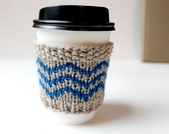 Wool Cup Cozy, Knitted Cup Sleeve, Coffee Cozy Chevron, Spring Gift, Blue Coffee Sleeve, Reusable Drink Cover, Hipster Coffee Cozy