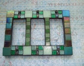 MOSAIC OUTLET or SWITCH Plate  - Triple, Shades of Green
