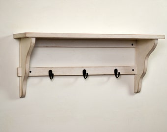 "Handmade Open-Back Wall Shelf with 3 Coat Rack Bathrobe Hooks - 28"" Long by 8"" Deep - Color OF YOUR CHOICE - Wall Mounted Shelf - Custom"