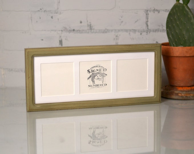 """6x15"""" Picture Frame in Double Cove Style with Mat Window Openings for (3) 4x4 Photographs and in Color of YOUR CHOICE - Collage Frame 4x4"""