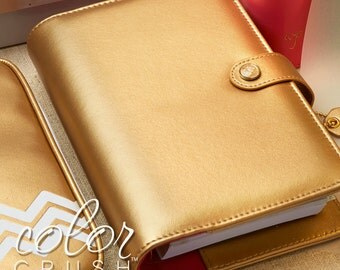 50% Off SALE Gold Color Crush Personal BINDER ONLY • Webster's Pages Color Crush Personal Size Gold Binder