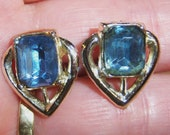 silver tone small clip on earrings with rectangle clear blue center 14IN
