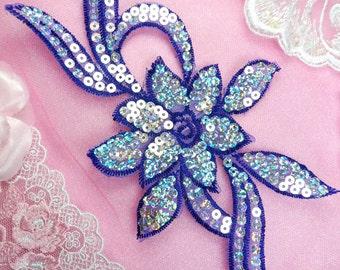 "GB58 Royal Blue Flower Sequin Embroidered Floral Applique 9.5"""