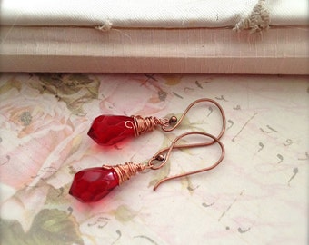 Red Earrings Crystal Earrings Wire Wrapped Fashion Jewelry Copper Earwires - Frida Earrings Bohemian Spirit