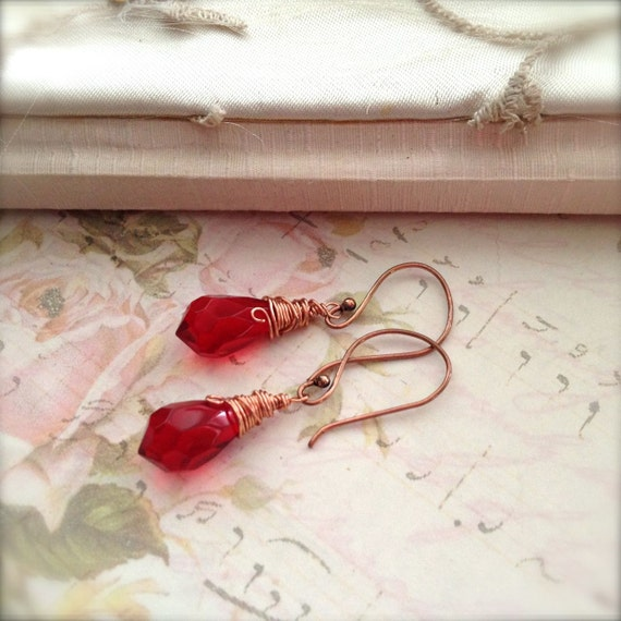 Sale Red Earrings Crystal Earrings Wire Wrapped Fashion Jewelry Copper Earwires - Frida Earrings Bohemian Spirit