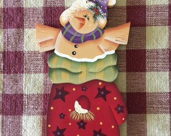 Yellow Bird in Red Mitten Birdhouse Hand Painted Christmas Ornament