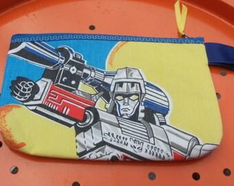 Transformers Fabric Zipper  Pouch  Handmade -- Pencil Pouch, Gadget Pouch  1984
