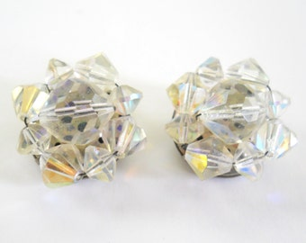Vintage Crystal Cut Clip On Earrings • Vintage Germany Opalescent Earrings