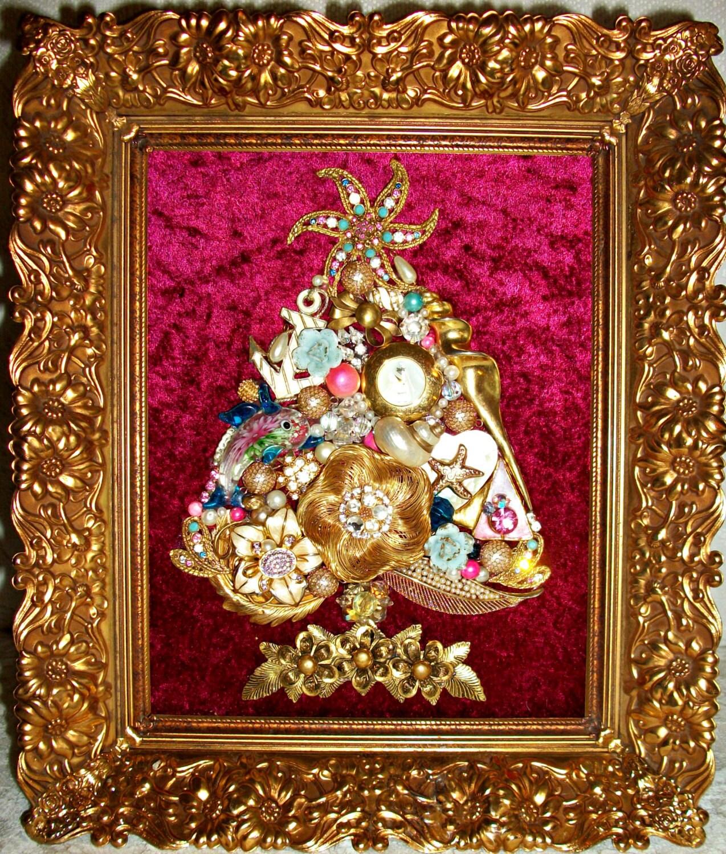Vintage Christmas Tree: Vintage Jewelry Framed Christmas Tree By Moondiamonds On Etsy