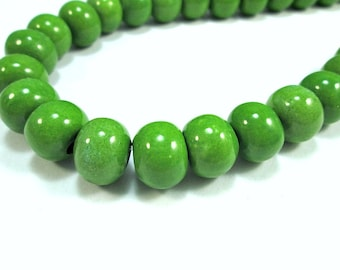 Round greek ceramic beads, pea green 12mm beads - 8 pieces