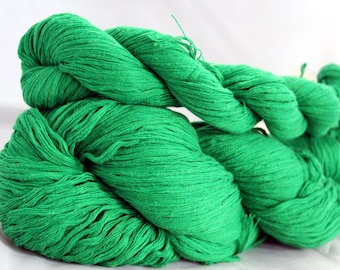 30% off STORE CLOSING SALE Kelly Green Upcycled Cotton Yarn, Worsted Yarn - 348 Yards