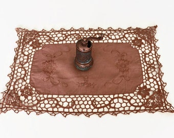 Mocha Doily Lace, Vintage Lacy, Embroidered Table Cloth, Brown Floral, Unique Home Deco, Handmade