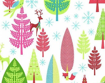 Winter Woods by Fabric by Michael Miller Christmas Holiday Multicolored Trees with Reindeer on White
