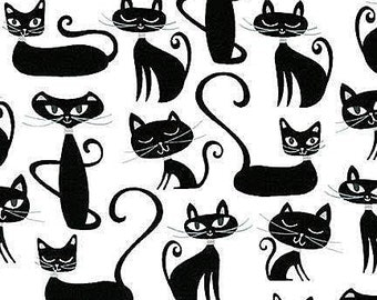 Whiskers and Tails Cat Fabric by Robert Kaufman French Black Cats on White