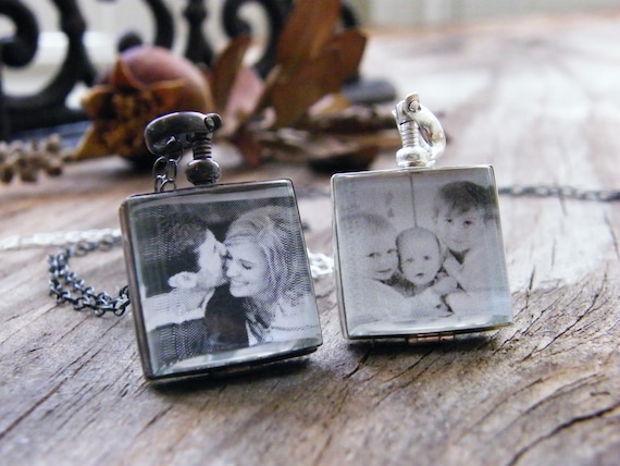 glass photo locket sterling silver heirloom keepsake remembrance necklace blackened or shiny finish