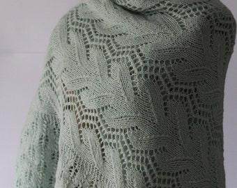 Mint Green Wool Shawl Baby Blanket