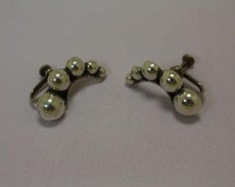 Taxco Silver Earrings Screw Back