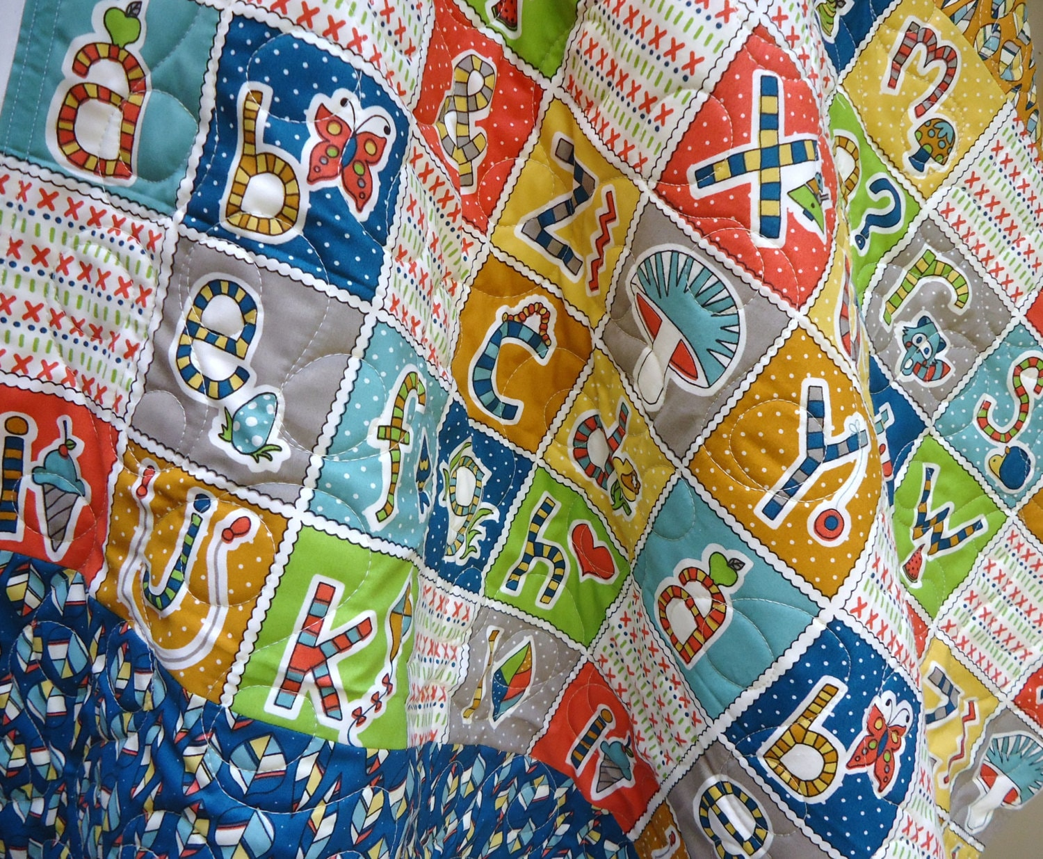 Modern baby quilt gender neutral organic birch fabric whimsy for Unisex baby fabric
