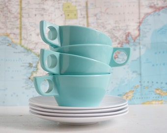 Cup and Saucer Set, Melamine, Turquoise Blue and White, Midcentury Modern, Hostess Gift Under 20, Gift For Camper, Cabin Style, Alfresco