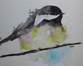 "Original Watercolor Painting- ""Black-Capped Chickadee"" Maine Painting"