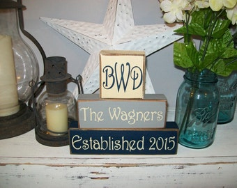 Custom Personalized Family Name Blocks Primitive Wood Sign Blocks Shelf Tuck Marriage Est Date