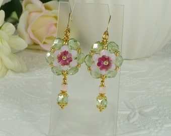 Woven Earrings Layered Flowers Pink and Green