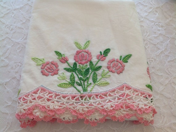 White Shabby Chic Pillow Cases : Vintage Pillow Cases Uncut Pink Crocheted Trim Shabby Chic