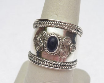Sterling and Amethyst Cigar Band Ring Vintage