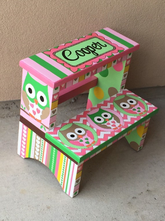 Children S Hand Painted Step Stool Personalized For Kids