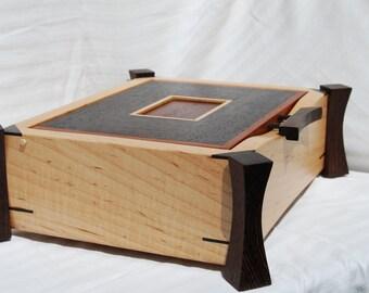 Maple and Wenge Jewelry Valet or Keepsake box with bubinga accents