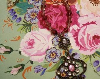 Elegant vintage charm necklace with swarovski beaded detail